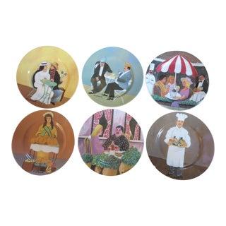 Guy Buffet Collection Porcelain Salad/Desert Plates - Set of 6 For Sale