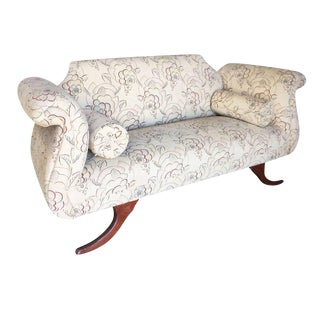 Duncan Phyfe Style Love Seat Settee with Scrolling Arms For Sale