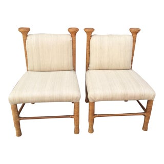1970s Vintage Split Reed Wrapped Chairs by Weiman - a Pair For Sale