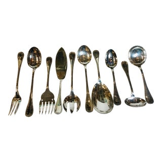 Christofle Malmaison Mid-Century Modern Silver Plated Flatware Service, France - Set of 10 For Sale