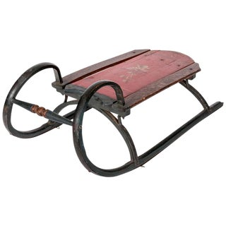 19th-Century Ram Horn Childs Sled in Original Red Paint For Sale