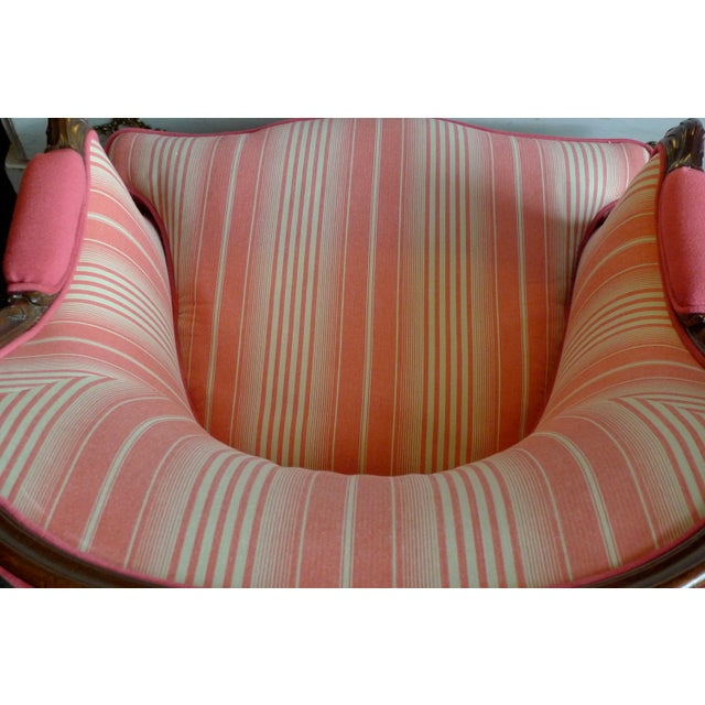 19th Century 19th Century French Walnut Bergere Armchair Reupholstered With New Fabric. For Sale - Image 5 of 11