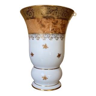 Limoges Gold Encrusted Tortoiseshell Porcelain Vase For Sale