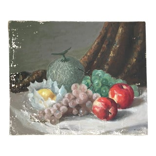 Vintage Mid-Century Fruit Still Life Oil on Canvas Painting For Sale