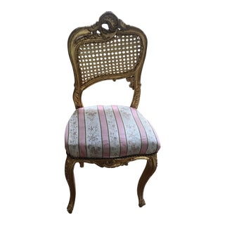 Gold Antiqued Wood & Rattan Accent Chair For Sale