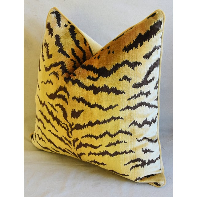 """Scalamandre Le Tigre Tiger Silk Velvet Feather/Down Pillows 23"""" Square - Pair For Sale - Image 10 of 10"""