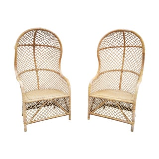 Rattan Canopy Chairs - A Pair