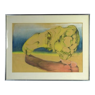 Vintage Surrealist Abstract Colored Pencil Drawing Arched Organic Shapes For Sale