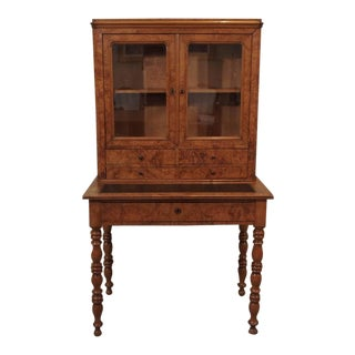 Antique French Louis Philippe Burled Elm Writing Table or Secretaire