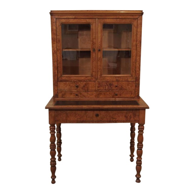 Antique French Louis Philippe Burled Elm Writing Table or Secretaire - Image 1 of 9