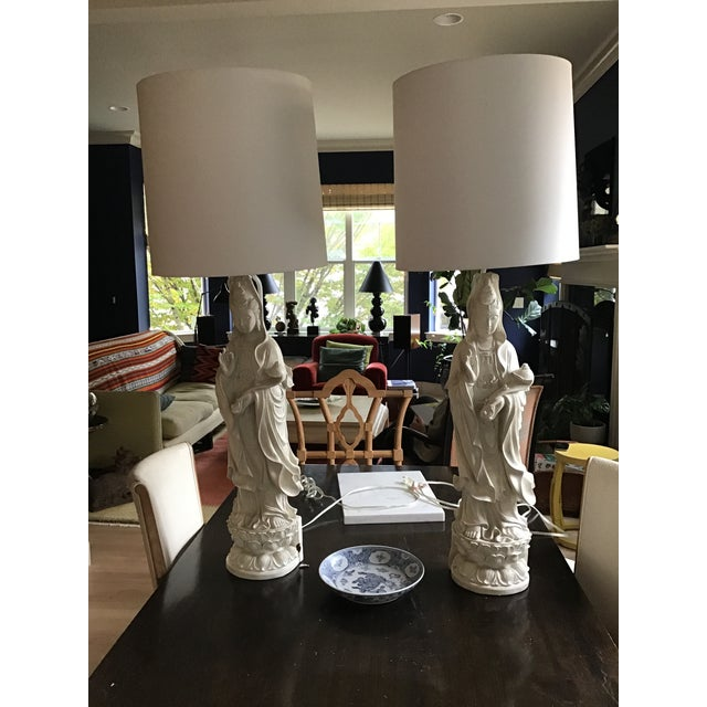2000 - 2009 White Indian Goddess Table Lamps - a Pair For Sale - Image 5 of 5