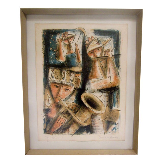 Emil Weddige Abstract Modernist Mid Century Modern Art Musicians For Sale