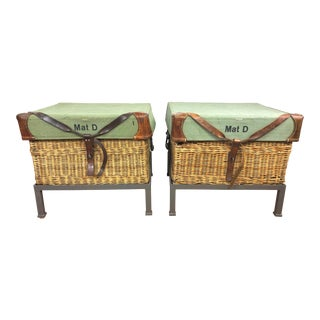 Australian Military Wicker Trunks on Custom Iron Frames - a Pair For Sale