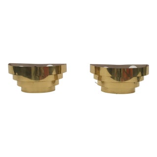 Art Deco Metal Gold Plated Wall Sconces - A Pair