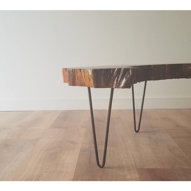 1960s 1960s Mid-Century Modern Live Edge Half Moon Side Table For Sale - Image 5 of 10