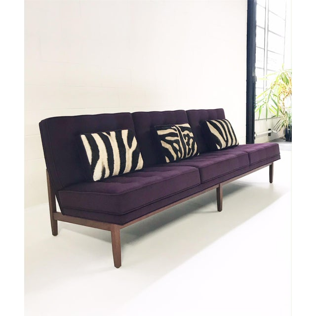 Mid-Century Modern Forsyth Vintage Florence Knoll Sofa Restored in Loro Piana Cashmere With Custom Zebra Hide Pillows For Sale - Image 3 of 13