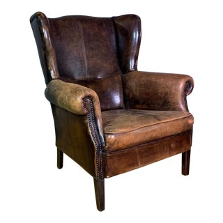 Vintage Stitched-Leather Wing Chair, 20th Century For Sale