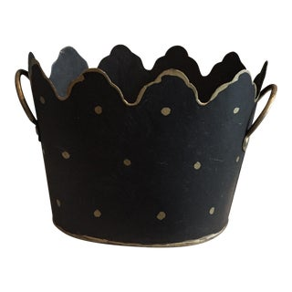 Sweet Black and Gold Hand Painted Cachepot