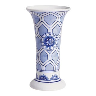 Barclay Butera Blue & White Dynasty Honeycomb Vase For Sale