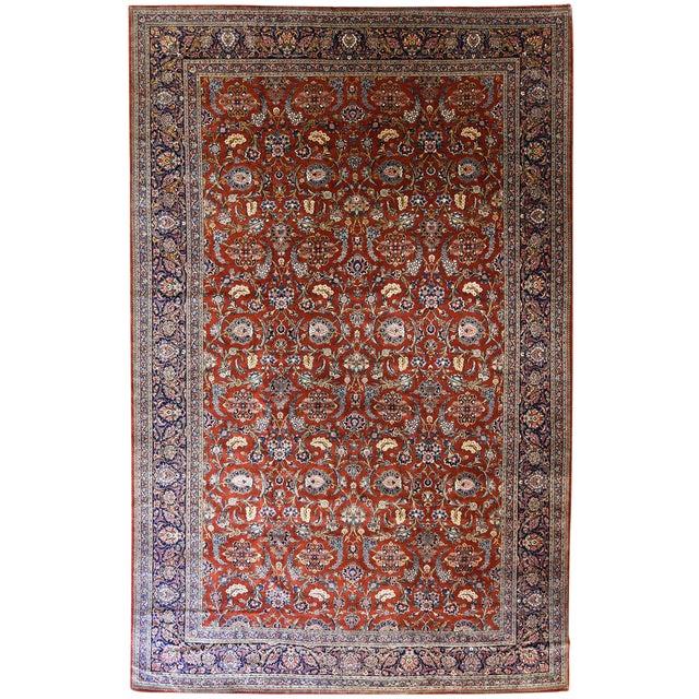 Antique Oversize Persian Kashan Carpet For Sale