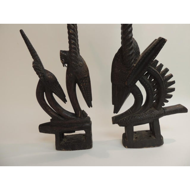 "African ""Chiwara Head Dress Carved Sculptures - a Pair - Image 2 of 6"