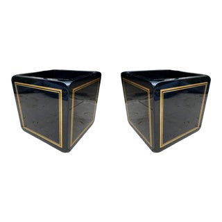 Vintage Italian Black Lacquer & Gold Inlay Cube Planters- a Pair For Sale