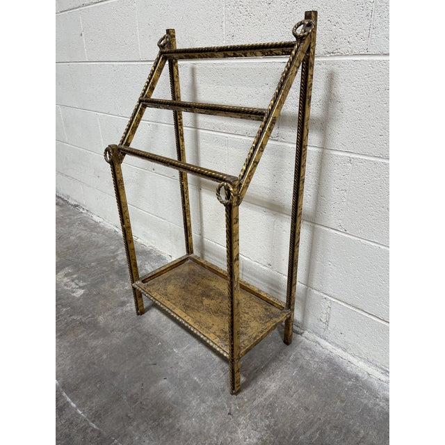 Gold Leaf Hollywood Regency Iron Towel Rack For Sale - Image 4 of 10