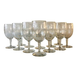 1950s Floral Etched Glass Wine Stems, Set of 12 For Sale