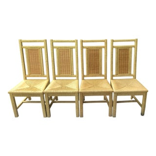 1970s Vintage Henry Link for Lexington Wrapped Wicker/Rattan Dining Chairs- Set of 4 For Sale