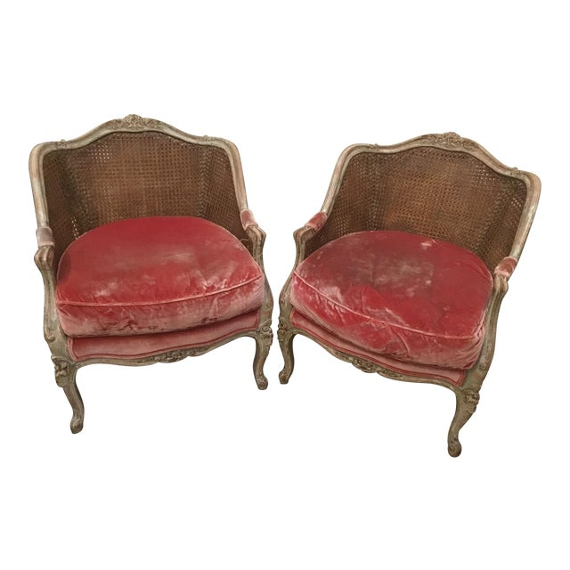 Late 18th Century French Cane Bergere Chairs- a Pair For Sale