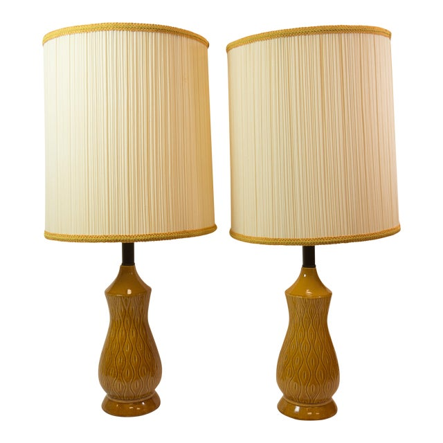 Mid-Century Modern Barrel Shade Ceramic Table Lamps- A Pair - Image 1 of 6