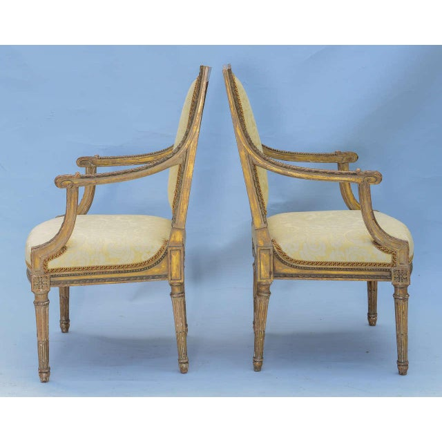 Louis XVI Pair of Early 19th Century Louis XVI Fauteuils For Sale - Image 3 of 10