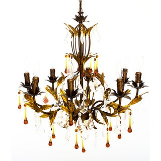 Vintage Italian Gold Tole Chandelier Preview