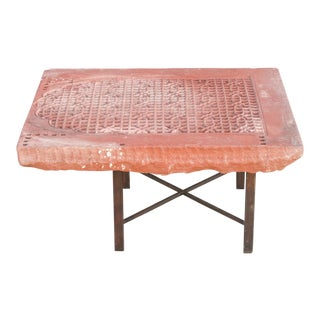 Moorish Stone Carved Jali Table For Sale