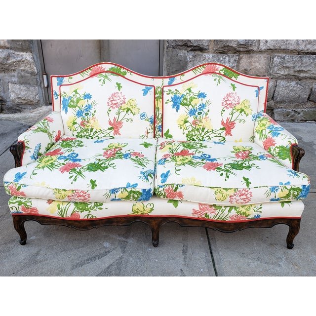 Vintage Louis XV Style Floral Upholstery Settee For Sale - Image 12 of 13