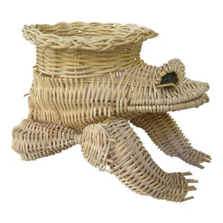20th Century Vintage Marble Eyed Wicker Frog Planter For Sale