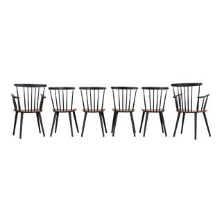 1960s Vintage Folke Palsson for Fdb Mobler Farmhouse Spindle Chairs- Set of 6 For Sale