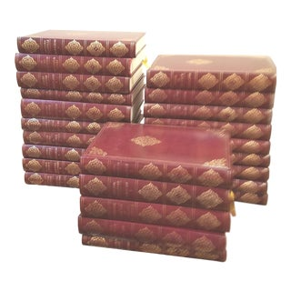 French Burgundy and Gold Leather Bound Classic Books - Set of 24 For Sale