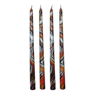"""Halloween 14"""" Marbleized Taper Candles, Set of 4 For Sale"""