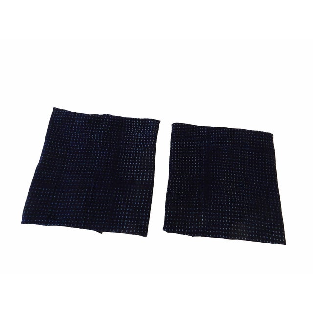 Superb set of two Indigo cotton mud-cloth fabrics with geometric design. Handwoven, hand-sewn, and hand-dyed by the men...