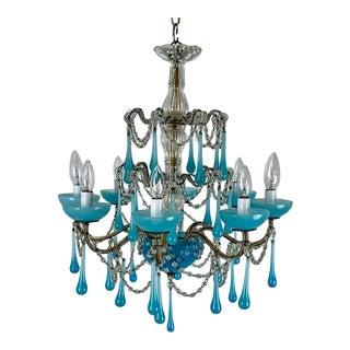 1990s Italian Aqua Blue Drip Chandelier With 8 Lights For Sale