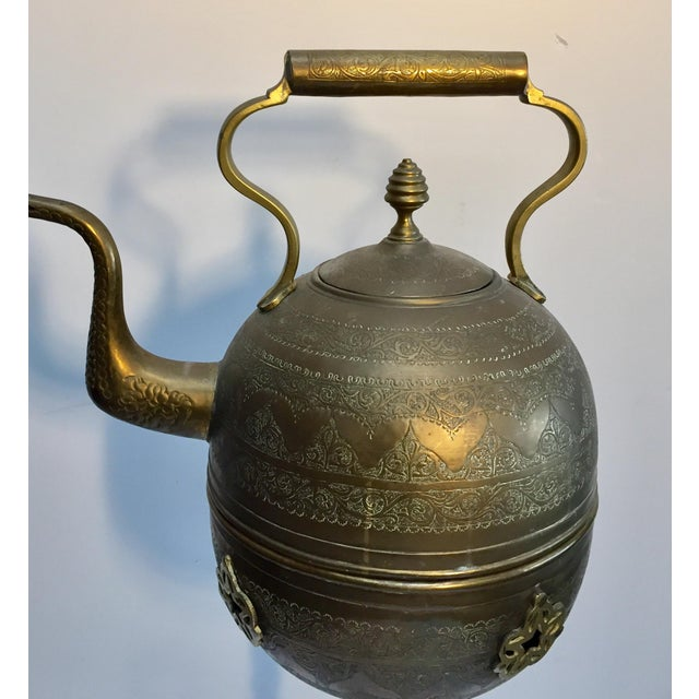 Moroccan Antique Brass Tea Kettle Pot on Stand For Sale In Los Angeles - Image 6 of 12