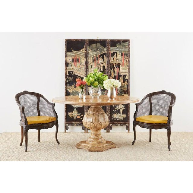 Beautifully distressed Chinese export three panel lacquered coromandel screen. Features images of elites in a courtyard...