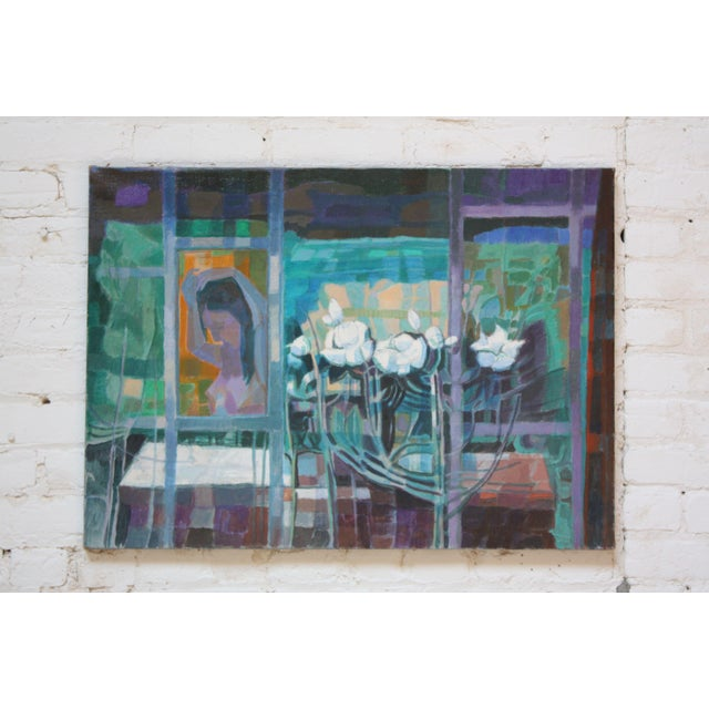 'Woman With Flowers' Acrylic on Canvas by Peppino Mangravite For Sale - Image 12 of 12