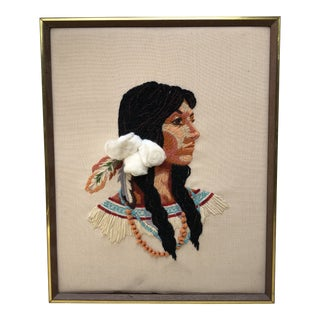 Framed Native American Woman Needlepoint Textile Art For Sale