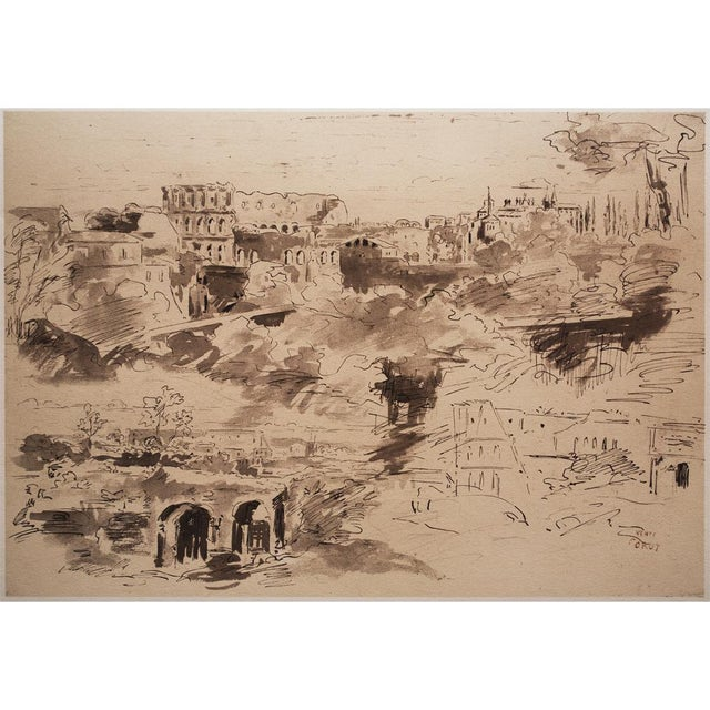 An exquisite large vintage lithograph after pen and India wash Sketches for The Painting of the Colosseum from Various...