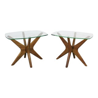 Pair of Mid-Century Danish Modern Adrian Pearsall 'Jacks' Glass Top End Tables For Sale