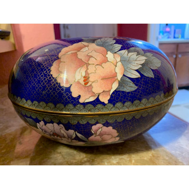 """Chinese Large """"Cloisonne"""" Enamel Bronze Bowl With Top For Sale - Image 3 of 10"""
