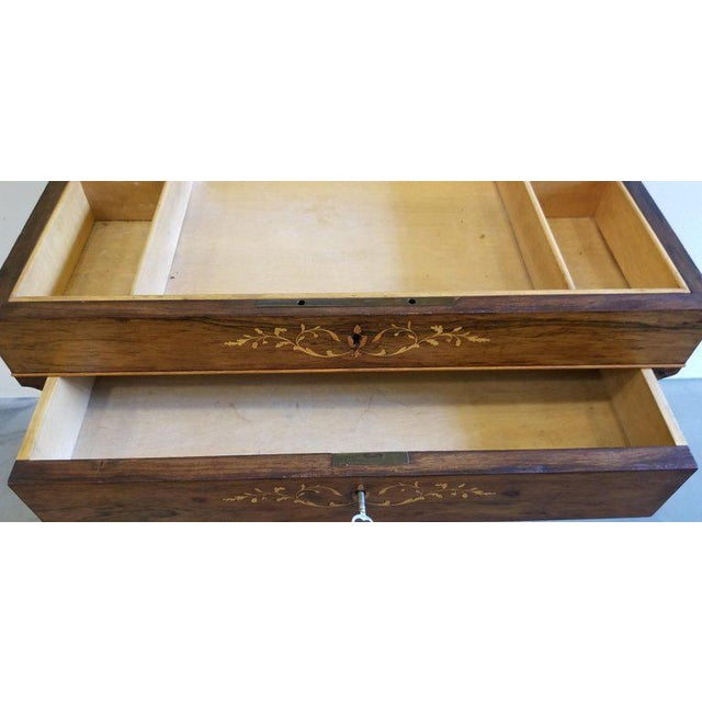 Charles X Inlaid Rosewood Ladies Vanity, Early 19th Century For Sale - Image 10 of 13