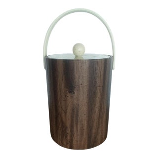 Mid Century Modern Faux Wood Ice Bucket For Sale
